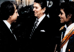 President Ronald Reagan, meets Michael Jackson along with Norman Winter